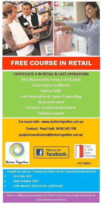 Free Certificate II in Retail training